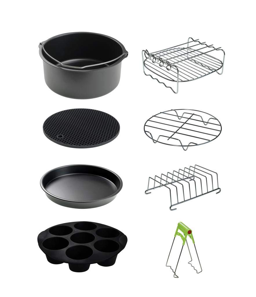 CAXXA XL Air Fryer Accessories Compatible with Gowise, Cozyna and Phillips, Fit all 4.2QT - 6.8QT and UP (Deluxe Set Of 9) by CAXXA (Image #1)
