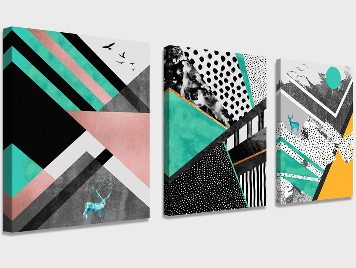Abstract Art Prints Canvas Art Geometric Wall Decor Paintings Abstract Geometry Wall Artworks Pictures for Living Room Bedroom Decoration Boho Wall Decor, 3 Panels Home Bathroom Wall Decor Posters