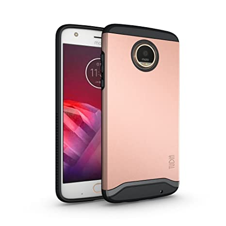 new concept 9acd5 2daf7 TUDIA Motorola Moto Z2 Play Case, Slim-Fit Heavy Duty [Merge] Extreme  Protection/Rugged but Slim Dual Layer Case for Motorola Moto Z2 Play - Rose  Gold ...