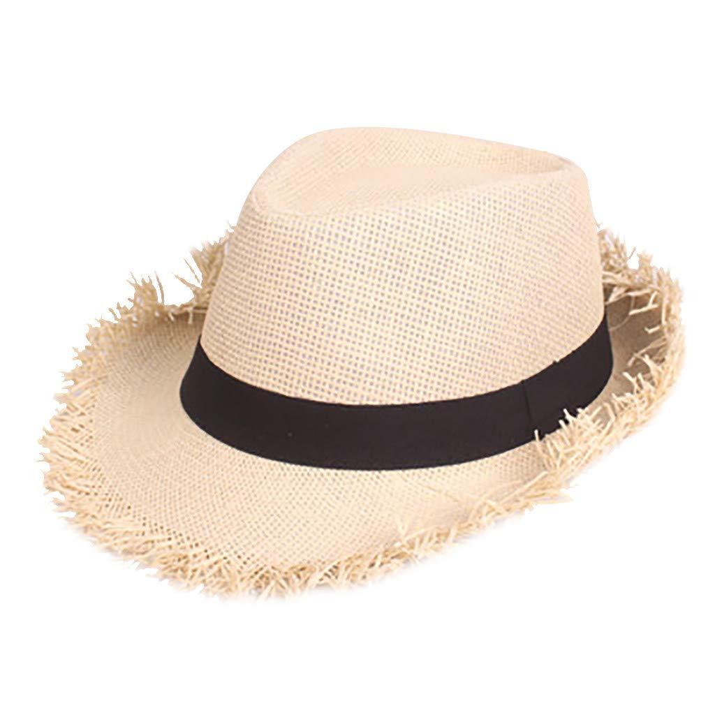 Skang Damen Strohhut Panamahut Einfarbig Atmungsaktiv Jazz Hut Mountain Strohh/üte Sommerhut Mit Stoffband Street Style