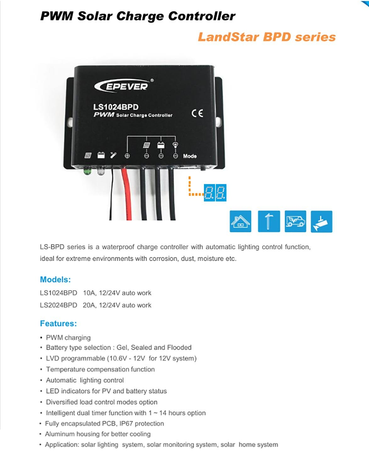 Solar Charge Controller Waterproof Ip67 Pwm Ls1024bpd Mode 12v 24v 6a Small Control Ce Panel 10a Auto Work With Automatic Lighting Funcation