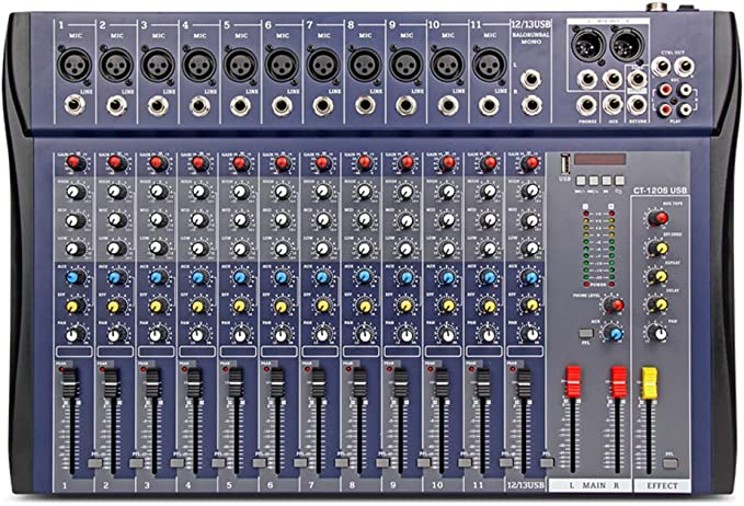 Amazon.com: XTUGA CT-120S USB Professional Stage Audio Mixer Built-in Digital Effect Mixer with 48V Phantom Power Music Mixer 12 Channel Mixer (CT120S-12Channel): Musical Instruments