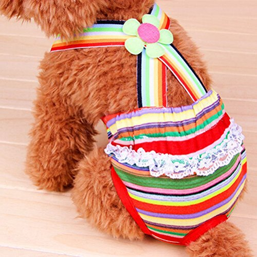 UEETEK Washable Dog Diapers Reusable Dog Wraps Suspender Sanitary Pants Diaper for Female (Menstrual Pad Costume)