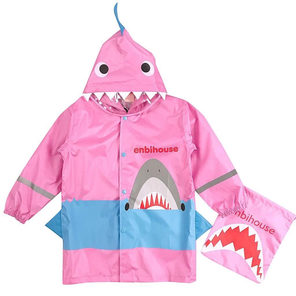 FRAUIT Regenjacke Kinder Jungen M/ädchen Regenmantel Shark Lightweight Rainwear Rain Slicker Mantel Winddicht Kapuzenjacke Poncho Kind 3D Stereo Regenmantel Aufbewahrungstasche 3-9 Jahre