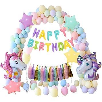 Unicornio Fiesta Decoración Unicornio cumpleaños Supplies,MMTX enorme unicornios Macaron globos set cumpleaños globos Bandera Borla para niña adultas ...