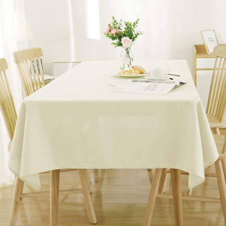 Nappe Table Beige pour Impermeable Carree Lin Deconovo Effet 130x130cm nmyw80OvN