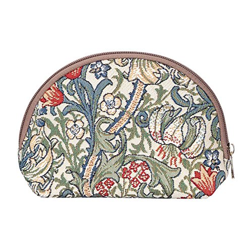 Morris Cotton Tapestry - Signare Tapestry Makeup Bag Travel Cosmetic Bag Brush Bag for Women Girls by Designer William Morris Golden Lily (COSM -GLILY)