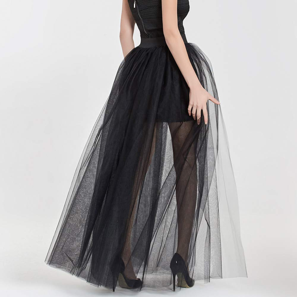 a65452ac98 NREALY Skirt Womens Solid Mesh Tulle Skirt Princess Skirt Mesh Bubble Skirt  Party Skirt(one, Black) at Amazon Women's Clothing store: