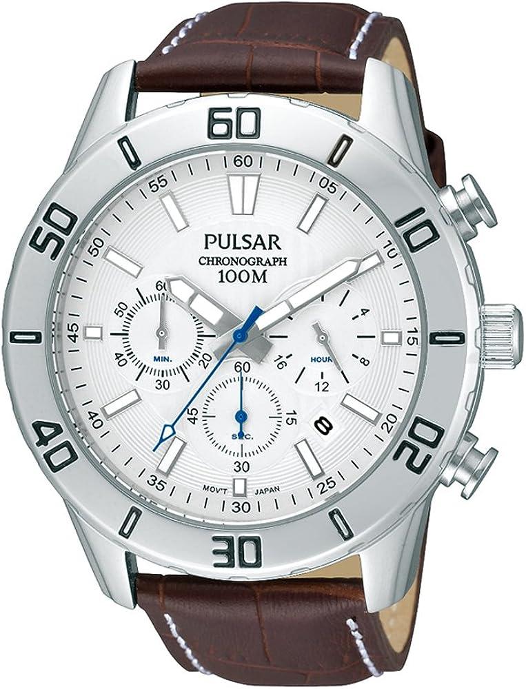 Pulsar Reloj Cronógrafo para Hombre de Cuarzo con Correa en Cuero PT3433X1