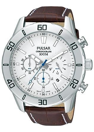 Pulsar Reloj Cronógrafo para Hombre de Cuarzo con Correa en Cuero PT3433X1: Amazon.es: Relojes