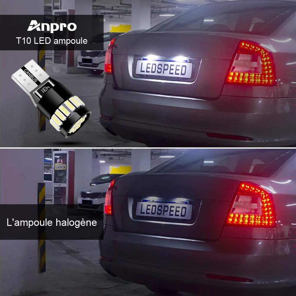 Anpro 10PCS Nouvelle Version T10 LED Ampoules Voiture 7020-6+3030-4 WFPC Canbus LEDs 6000K Blanc,Prise W5W T10 194 168 2825 158 175 pour Lampes Lecture,D/ôme Feux,Coffre,Plaque dimmatriculation