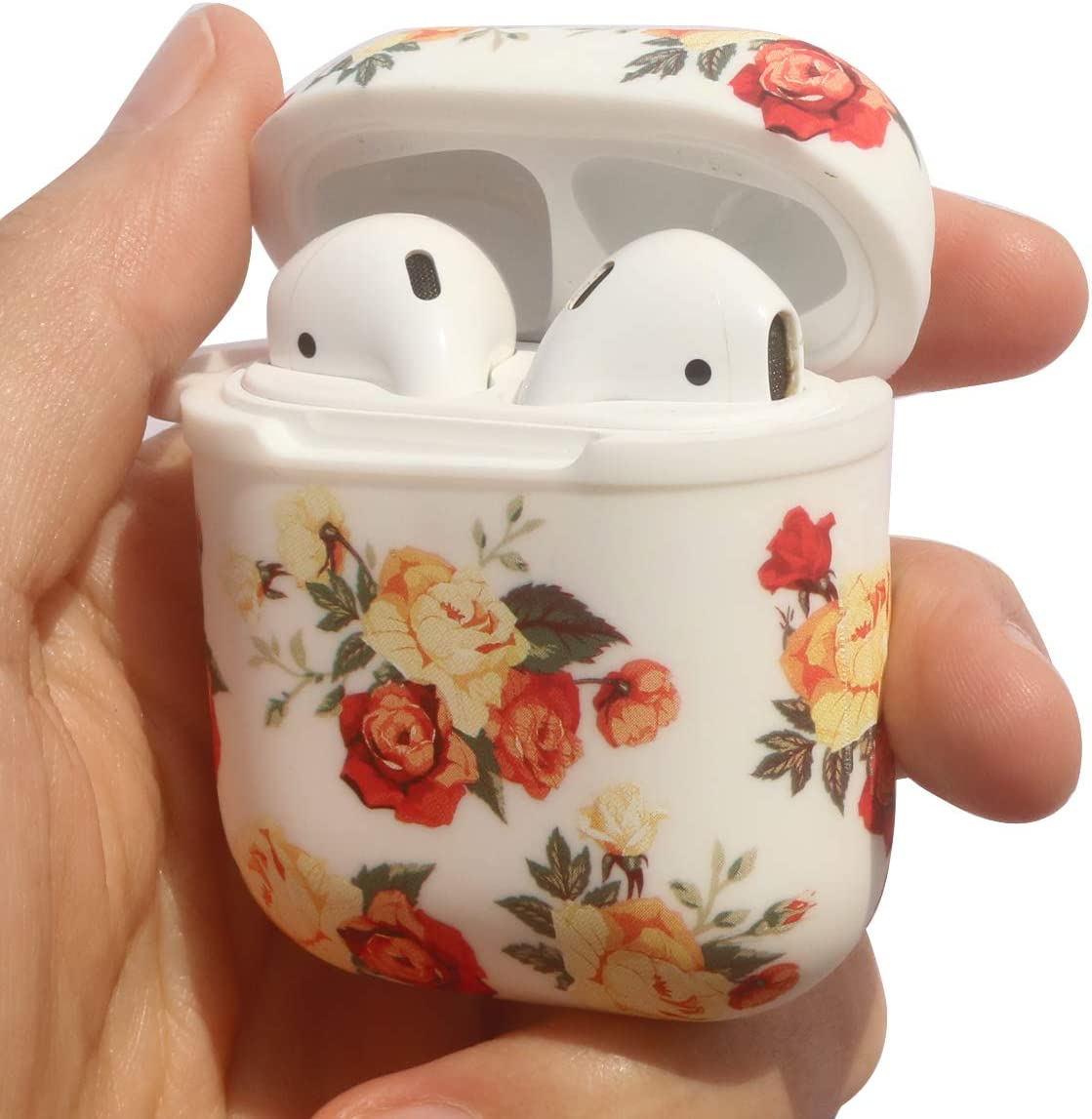 Jasonna Airpods Accessories Set Compatible with Apple Airpods 1 /& 2 Rose Print Cute Case Skin with Cute Pom Pom Keychain Airpods Case Silicone Protective Cover