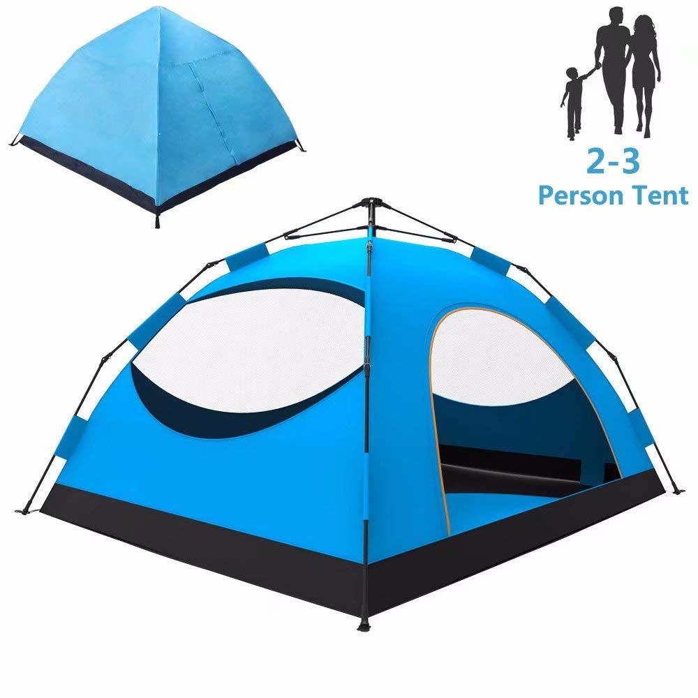LETHMIK Backpacking Tent, Instant Automatic pop up Tent, 2-3 Person, Lightweight Double Layer Camping Tent for Outdoor Hunting, Hiking, Climbing, Travel, Blue by LETHMIK