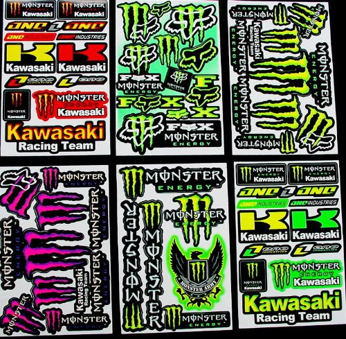 6 Sheets ' Motocross stickers ' KLL boys Rockstar bmx bike Scooter Moped army Decal Stickers AMG