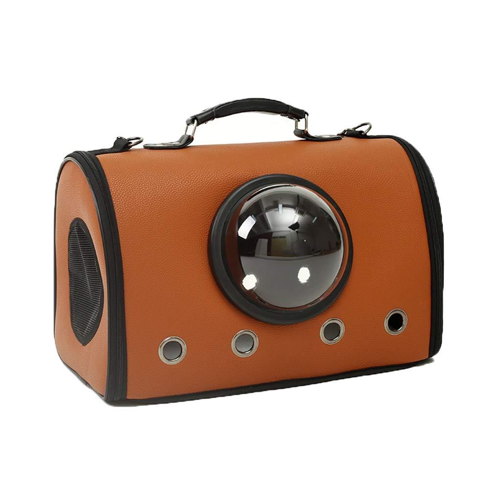 Caramel colour ZIYEYEPET Pet Backpack Portable Messenger Carrier Bags Space Capsule Cat Dog Carrier Outgoing Travel Packets Breathable Pet Handbag (color   Caramel colour)