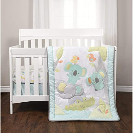 c0ae898ff1d Amazon.com  3 Piece Baby Blue Grey White Jungle Crib Bedding Set ...