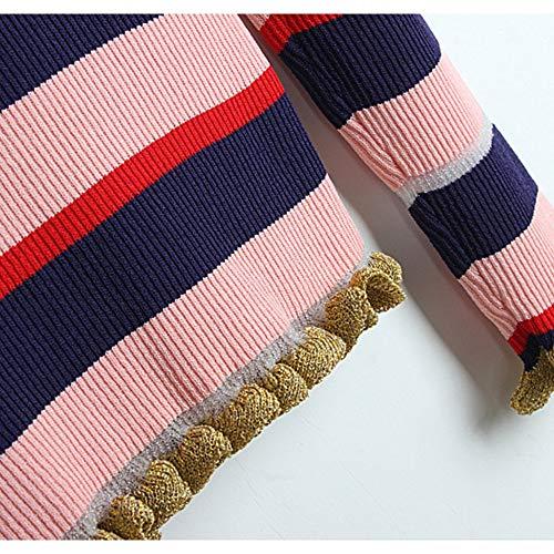 Mince Bord De Size L Contraste Pull Femme Soie Nouveau Pink color Rayure Col Champignon Pink Rond Chemise wXRqfxpvf