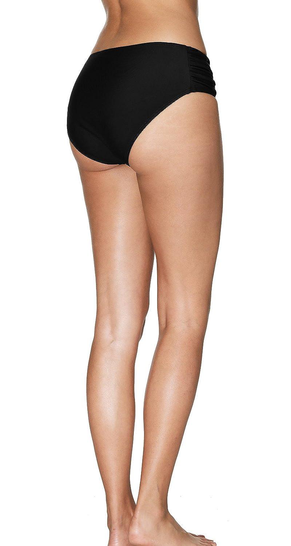 Sociala Womens Shirred Side Bikini Bottoms Solid Swim Bottom Swimsuit Briefs