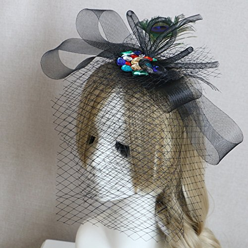 (usongs Custom hand peacock feathers retro black dots large diamond mesh veil hairpin headdress ornaments)