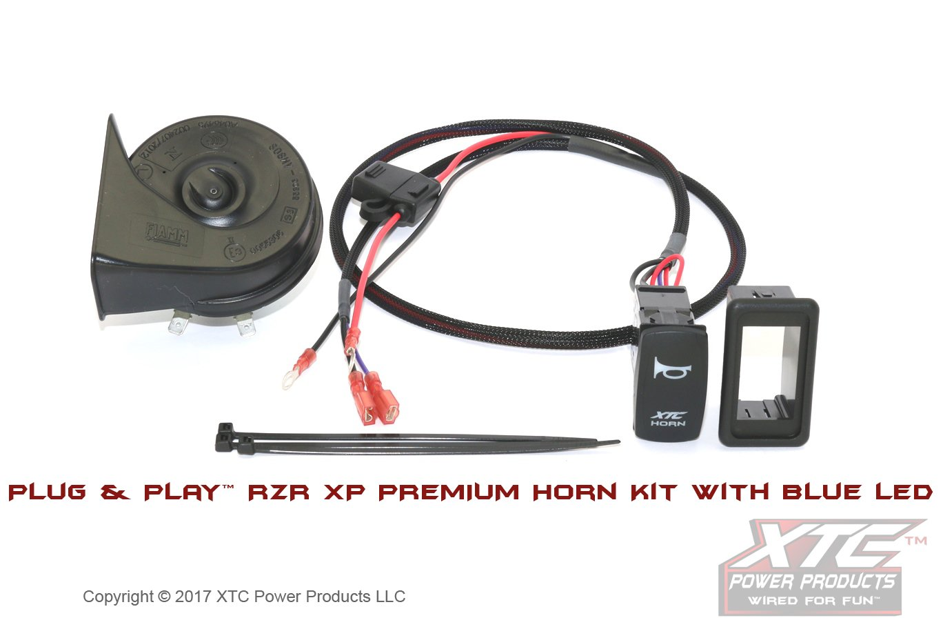 XTC Power Products Polaris RZR XP900/1000 Horn Kit with Lit Blue LED Carling Switch XTC Motorsports XTC HORNRZRXP