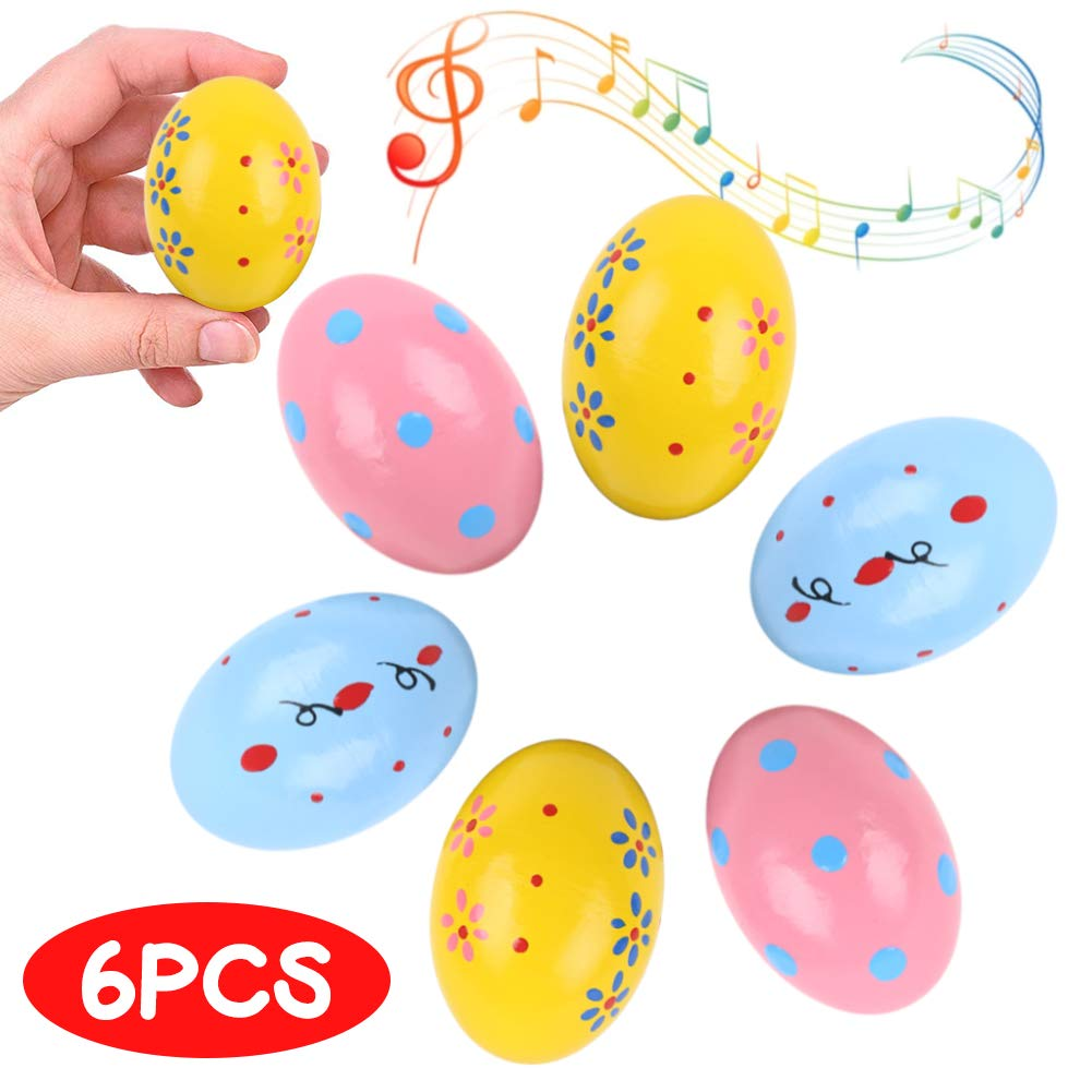 DomeStar Wooden Percussion, 6PCS Musical Egg Wooden Egg Shakers