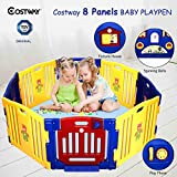 COSTWAY Baby Playpen with 8 Colorful Panels, Upgraded Safety Lock, Changeable into Octagon, Rectangle, Square, Triangle as Infant & Toddlers Activity Center (Blue)