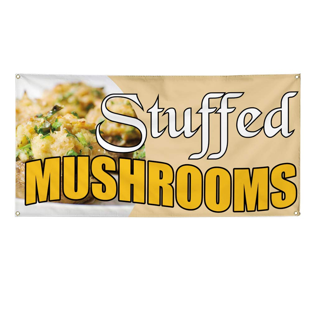 Multiple Sizes Available 32inx80in Set of 2 Vinyl Banner Sign Stuffed Mushrooms #1 Style A Baked Marketing Advertising Yellow 6 Grommets