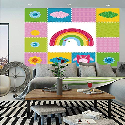 Nursery Removable Wall Mural,Squares Stitched Together Sewing Themed Cute Artwork Rainbow Sun Clouds Nature Decorative,Self-Adhesive Large Wallpaper for Home Decor 66x96 inches,Multicolor