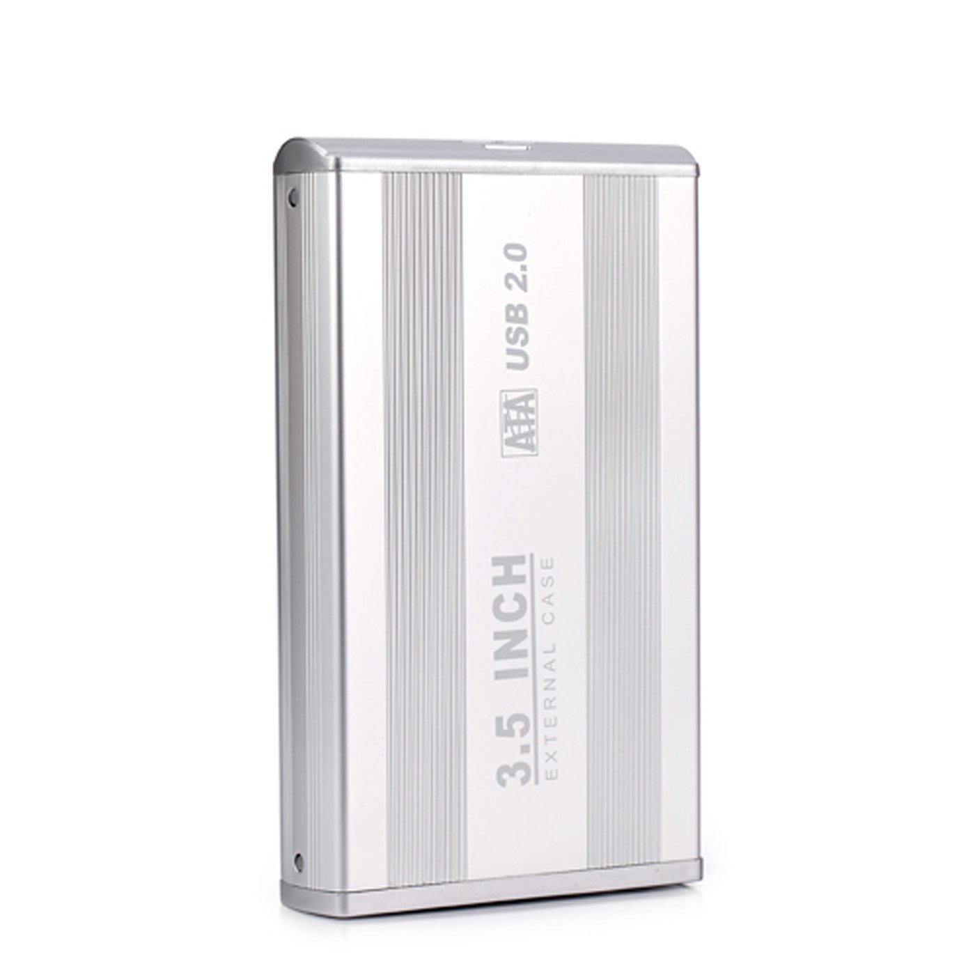 HDE 3.5 Inch SATA Hard Drive Case USB 2.0 Powered External Aluminum Enclosure Silver Finish