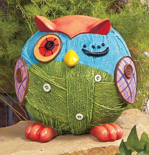 Whimsical Winking Owl Garden Statue Yard Art