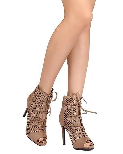GK90 Women Faux Suede Peep Toe Perforated Wraparound Stiletto Bootie