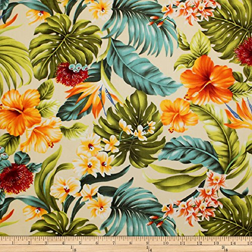 (Trans-Pacific Textiles Tropical Hawaiian Rainforest Beige Fabric by The Yard)