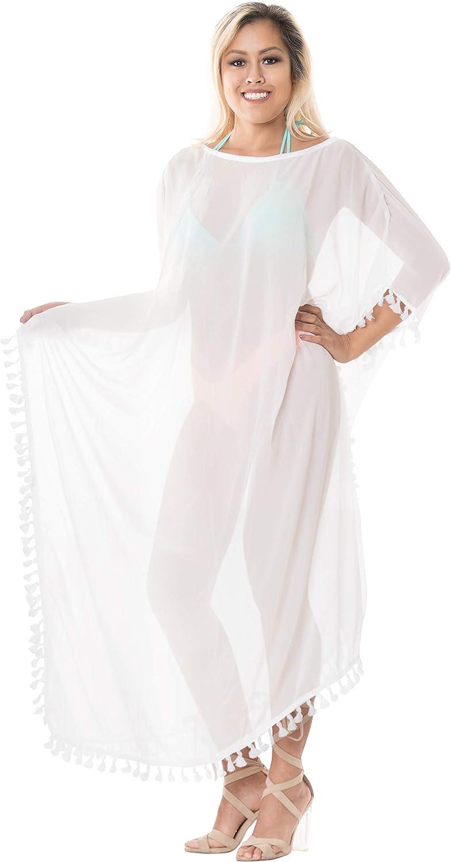 LA LEELA Mujeres caftán Rayón túnica Sólido Plain Kimono Libre tamaño Largo Maxi Vestido de Fiesta para Loungewear Vacaciones Ropa de Dormir Playa Todos los días Cubrir Vestidos U