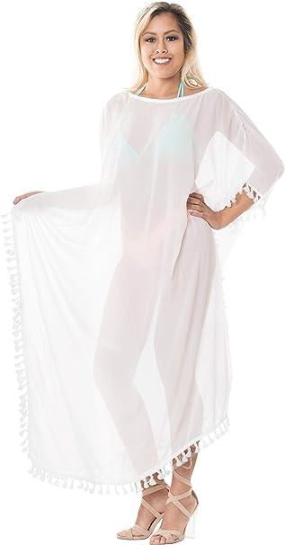 900a7fa161462 LA LEELA Mujeres caftán Gasa túnica Sólido Plain Kimono Libre tamaño Largo Maxi  Vestido de Fiesta