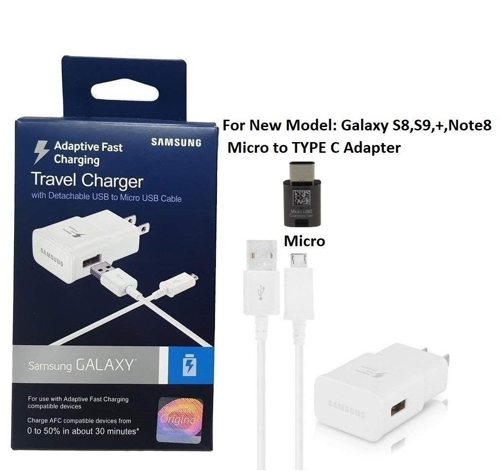 4352716106 C Type Adapter Galaxy S8//S9//+//Note8 Official OEM Samsung Adaptive Fast Charging Charger TYLT 3X Fast C Car Charger US Retail Packing Kit