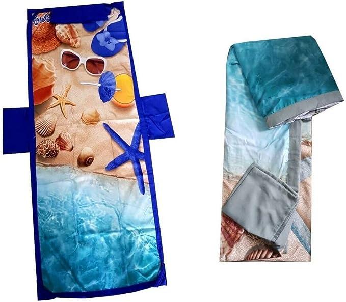 Verde Telo Mare Microfibra con Elastico Elastici Tasche Laterali Cuscino Gonfiabile a Coprilettino Spiaggia Piscina Asciugamano Sedia Sdraio Varie Fantasie e Colori 70 x 190 cm