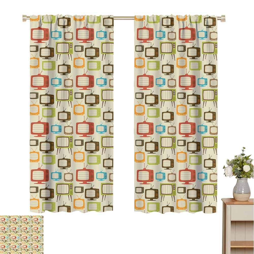 Vintage Dark Out Double Layer Curtains for Kids Bedroom, Old Televisions Pattern in Retro Colors Antenna Electronics Entertainment Nostalgic Dark Out Waverly Curtain (Multicolor, 84 x 72 Inch) by June Gissing
