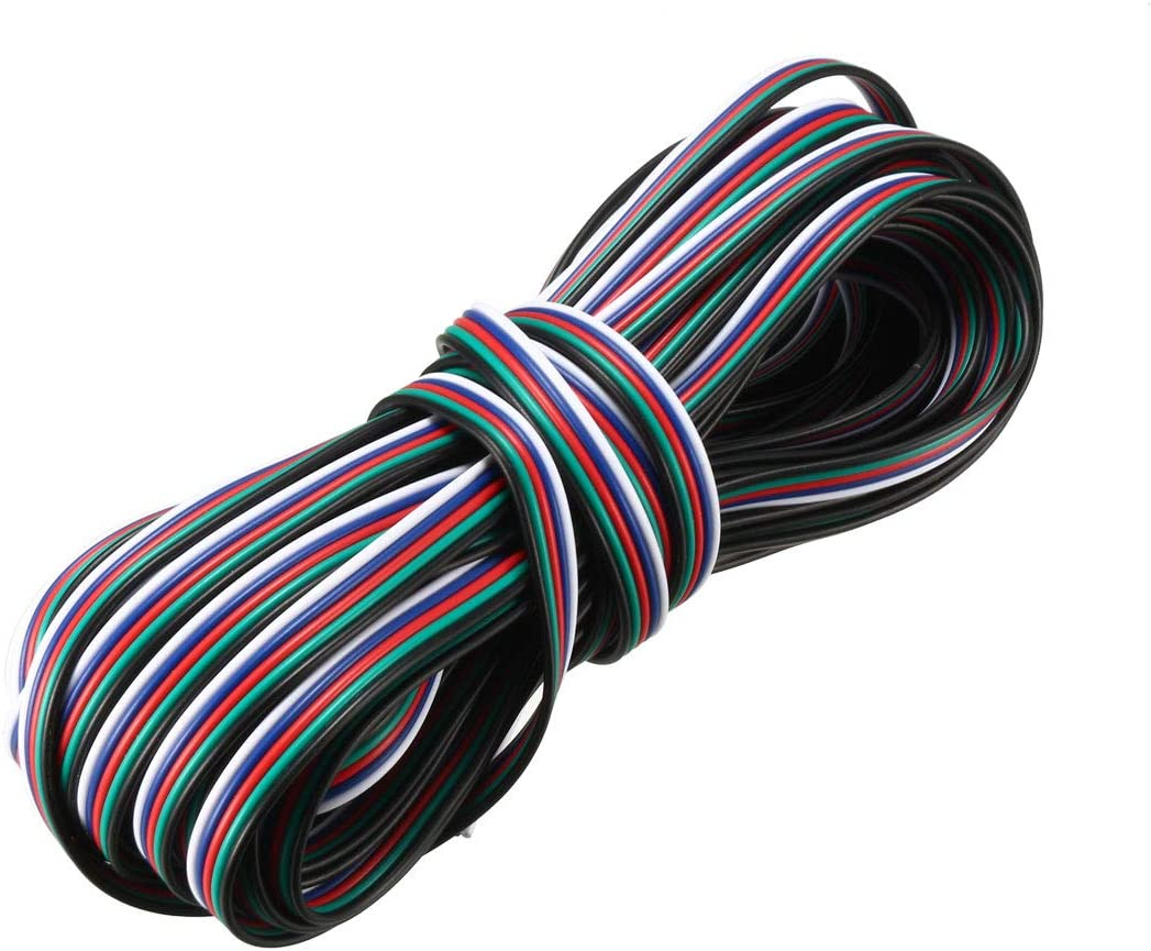 5m uxcell/® RGB Wire 22AWG 2 Pin 2 Color Extension Cable Line for LED Strip 5050 3528 Cord 16ft