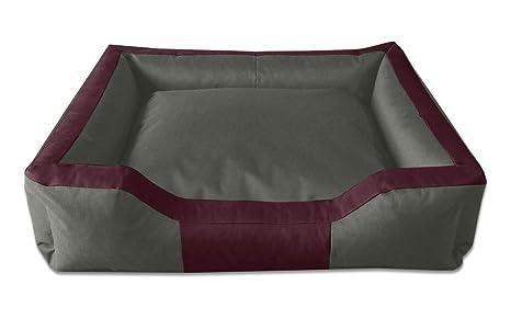 BedDog Bruno Burdeos/Gris XL Aprox. 100x85cm colchón para Perro, 16 Colores,