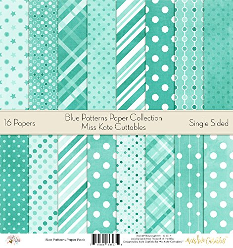 Pattern Paper Pack - Blue Patterns - Scrapbook Premium Specialty Paper Single-Sided 12