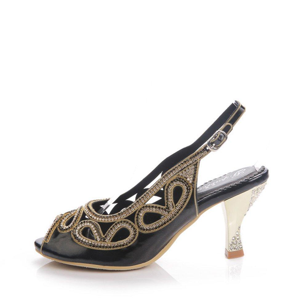 Damenschuhe 2018 neue Schuhe Sommer Sandalen Strass mit hochhackigen hohlen Fisch Mund Schuhe offen-toed Sandalen (Farbe   schwarz, Größe   38)
