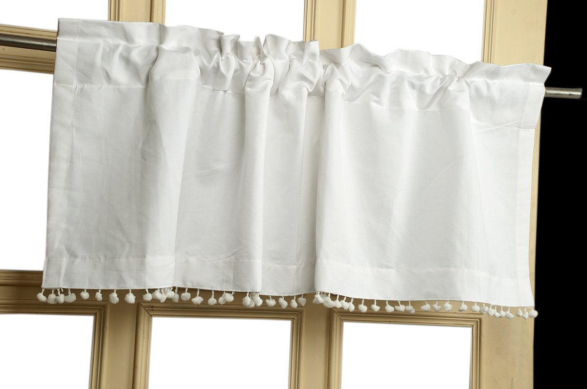 TSC White Organic Linen with pom pom lace cotton backing Lined window treatment Valance 18'' Drop 52'' wide
