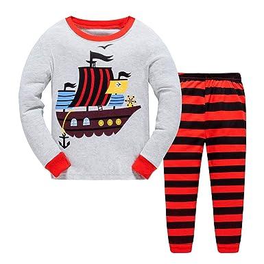 Pijamas para Niños Pijamas de Manga Larga Traje de Pijamas para Niños Traje de Primavera y otoño Barco Pirata con Estampado Gris: Amazon.es: Ropa y ...