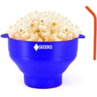 Microwave Popcorn Popper Bowl | +FREE GIFTS: Silicone Straw & Cleaning Brush | Healthy Pop Corn |100% Silicone Popcorn…