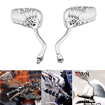 SILVER SKULL REARVIEW MIRRORS FOR HONDA SUZUKI BMW MOTORCYCLE CRUISER SCOOTER US