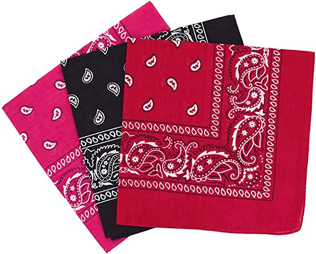 CRE87 Paisley Bandanas Verschiedene Farben 3 Pack Dutzend Baumwolle Cowboy Bandana Schal