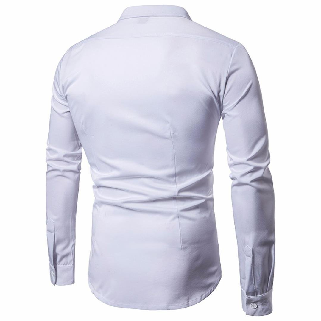 DIGOOD Long Sleeve Lapel Shirt Silm Fit For Men,From Size M Through 2XL,Fashion Solid Color Button Blouse Tops Colthes