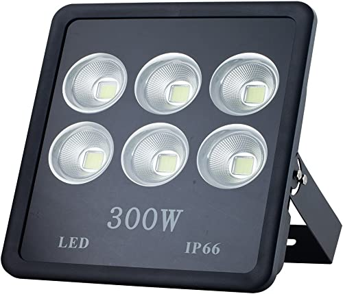 Musuger 300W Super Bright Outdoor LED Flood Lights with Fixture, Waterproof IP66, 30000lm, Warm White 3500K, Spotlight Cup, Security Light