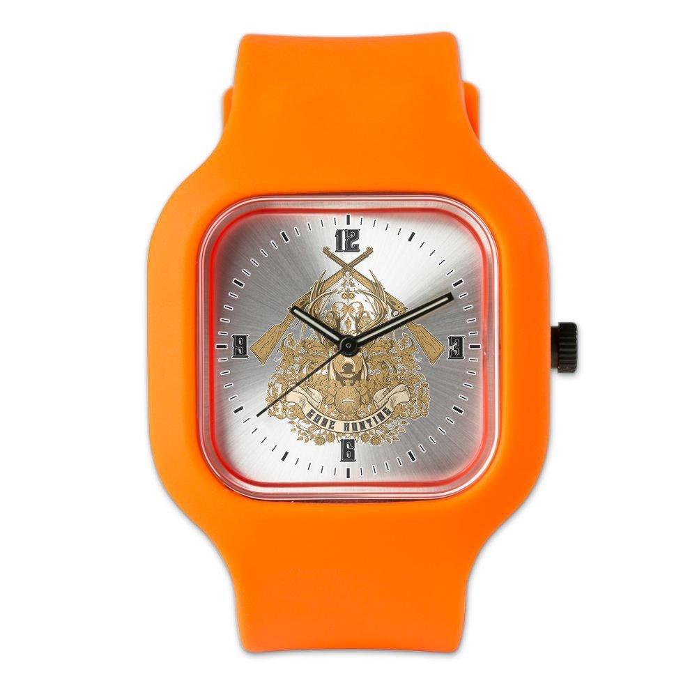 Orange Fashion Sport Watch Gone Hunting Hunter Rifles Deer Buck