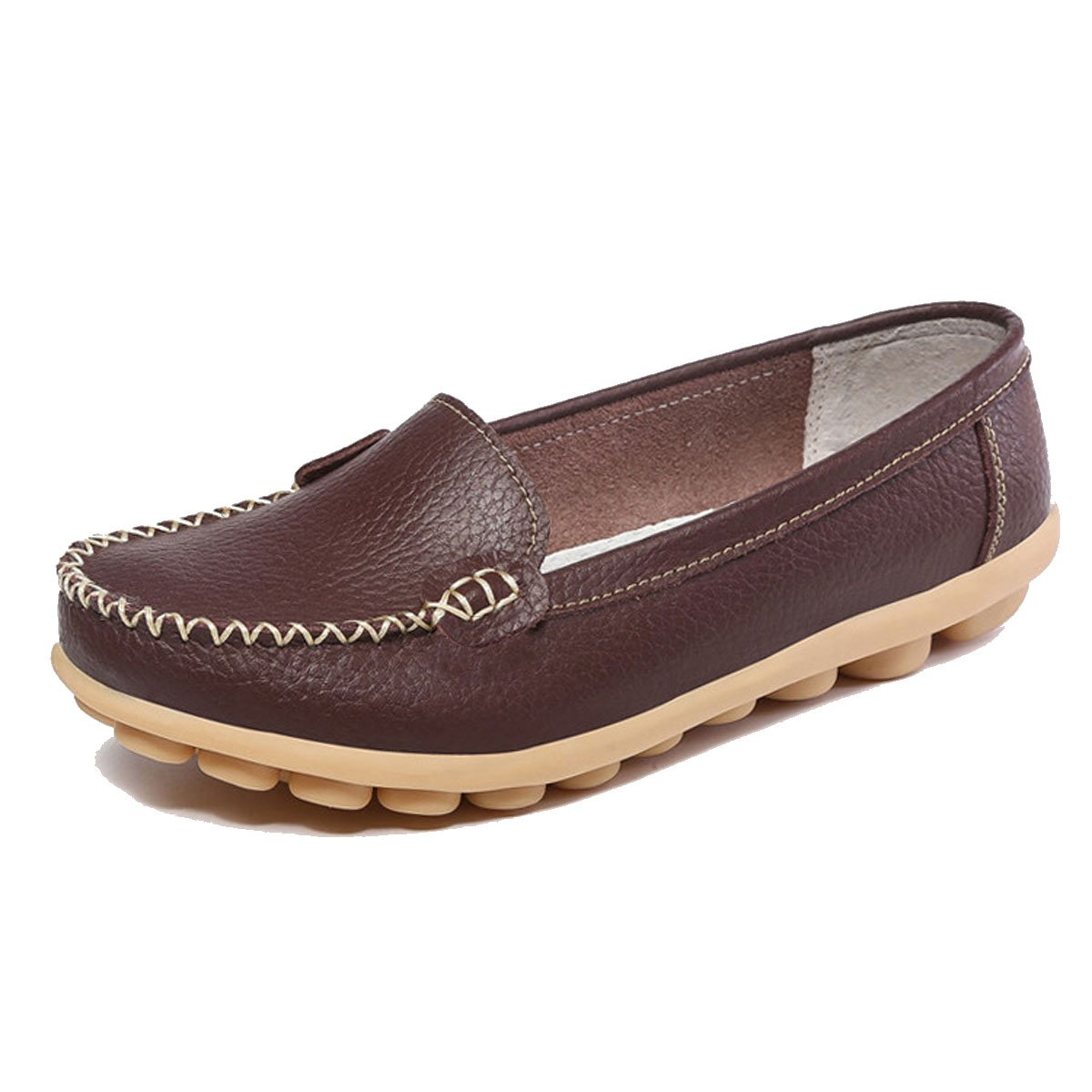 Orangetime Women's Penny Loafers Slip On Flats Casual-Soft Breathable PU Leather Boat Shoes Comfort Driving Shoes Brown 40